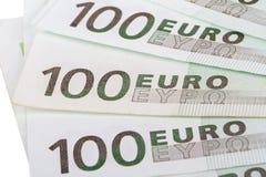 Close Up of Euro Banknotes Stock Photo