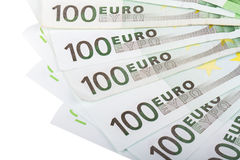 Close Up of Euro Banknotes Stock Photography