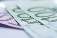 Close up of euro bills Royalty Free Stock Photos