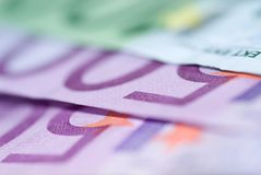 Close up of euro bills Royalty Free Stock Images