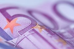 Close up of euro bills Stock Images
