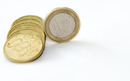 Close up of euro currency. coins on white background Stock Photo