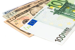 Close up of Euro currency note against US Dollar Stock Images