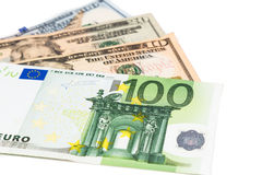 Close up of Euro currency note against US Dollar Royalty Free Stock Photos