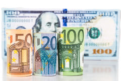 Close up of Euro currency note against US Dollar Royalty Free Stock Images