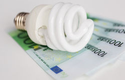 Close up of euro money and light bulb on table Royalty Free Stock Photo