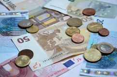 Close up euro money. Close up view of euro coins and banknotes Stock Images