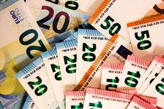 Close up of Euro notes mix royalty free stock photography