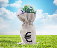 Close up of euro paper money in bag outdoors Royalty Free Stock Images