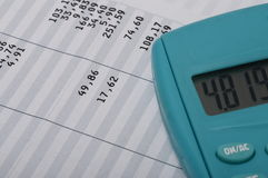 Close up of euro pay sheet and calculator Royalty Free Stock Image