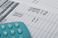 Close up of euro pay sheet and calculator Stock Photo