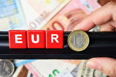 Close up of euro word on banknote Stock Images