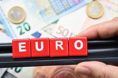 Close up of euro word on banknote Stock Image