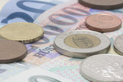 Close-up of European Currency. Coins Stacked on Banks Notes Stock Photography