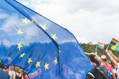 Close up on the European Union Flag on the Prague Gay Pride parade royalty free stock image