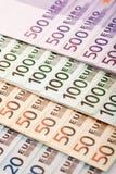 Close up europeu dos euro da moeda Imagens de Stock Royalty Free