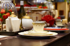 Close up evening tableware Royalty Free Stock Image