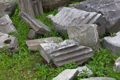 Close up of excavated ancient roman structures Royalty Free Stock Photography