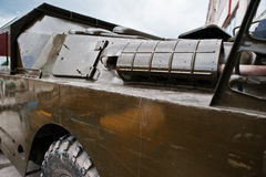Close up exhaust on armored military car. Stock Photo