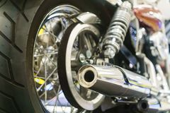 Close Up of exhaust or intake of racing motorcycle. Low angle ph Royalty Free Stock Photography