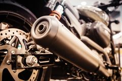Close Up of exhaust or intake of racing motorcycle. Low angle ph Stock Photography