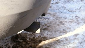 Close-up of the exhaust pipe of the car from which the gas comes. Close-up of the exhaust pipe of the car from which the gas comes stock footage
