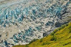 Close-up of Exit glacier in Kenai Fjords national park, Alaska. Hiking glacier, glacier adventure in far north, Northern America road trip stock image