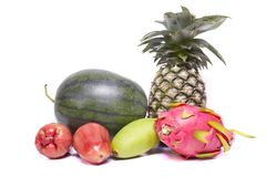 Close up exotic and tropic fruits Stock Photo