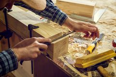 Experienced carpenter in workshop stock photo