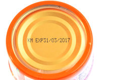 Close up of expiration date on can Stock Photos