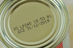Close-up of 2019 expiration date on canned food. Closeup royalty free stock photos