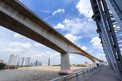 Close Up Expressway and Steel Iron Bridge on Bangkok River stock photo