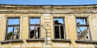 Close up - exterior facade of abandoned house Royalty Free Stock Images
