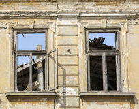 Close up - exterior facade of abandoned house Royalty Free Stock Photography