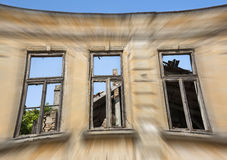 Close up - exterior facade of abandoned house Stock Image