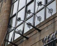 Close up of the exterior of the Glasgow School of Art building, Glasgow UK, designed by architect Charles Rennie Mackintosh. Glasgow, UK. Close up of the stock images