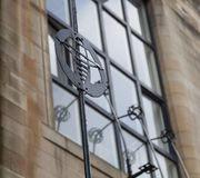 Close up of the exterior of the Glasgow School of Art building, Glasgow UK, designed by architect Charles Rennie Mackintosh. Glasgow, UK. Close up of the royalty free stock photo