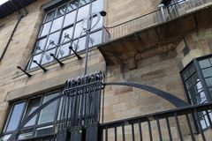 Close up of the exterior of the Glasgow School of Art building, Glasgow UK, designed by architect Charles Rennie Mackintosh. Glasgow, UK. Close up of the stock photos