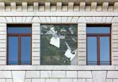 Close-up of the Exterior of the Palazzo del Podestà in Padua. Close-up of the exterior of the Palazzo del Podestà in Padua, Italy, showing a map of the Royalty Free Stock Photography