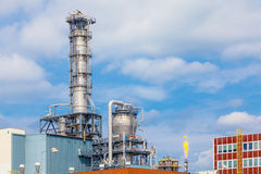 Close up exterior strong metal structure of oil refinery plant in heavy industry Royalty Free Stock Image