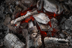 Close-up extinguish fire coal in stove Stock Image