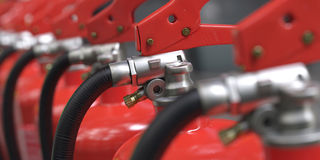 a close-up from an extinguisher row 3d illustrated Stock Images