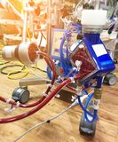 Close up Extracorporeal membrane oxygenation ECMO in Seriously ill patients in intensive care unit with a artificial blood. Circulation apparatus,Blurry image stock photography
