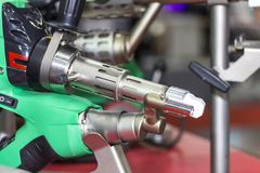 Close up extruder plastic welding machine for industrial repair and maintenance royalty free stock photography