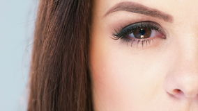 Close Up on Eye of Brunette Girl Royalty Free Stock Photo