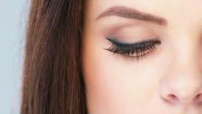 Close Up on Eye of Brunette Girl stock video