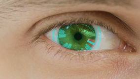 Close-up of eye with computer data and text overlayed. Zoom in centr. charts. Graphs stock footage