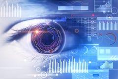 Biometrics, id and future concept. Close up of eye with digital business interface. Biometrics, id and future concept. Double exposure royalty free stock image