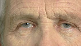 Close up eye of an elderly man. Wrinkled face of an old man close up. An older view stock video