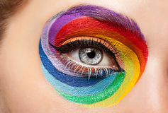 Close-up eye with fashion art on stahe make up royalty free stock image